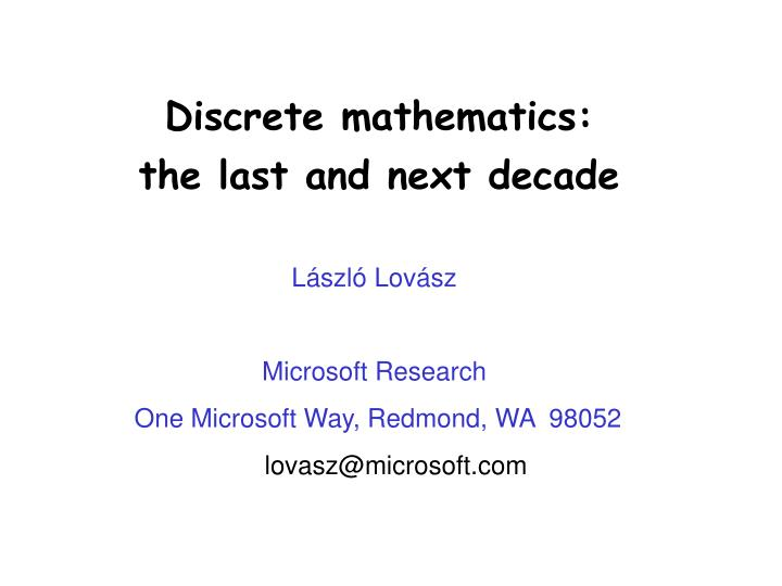 Discrete mathematics: