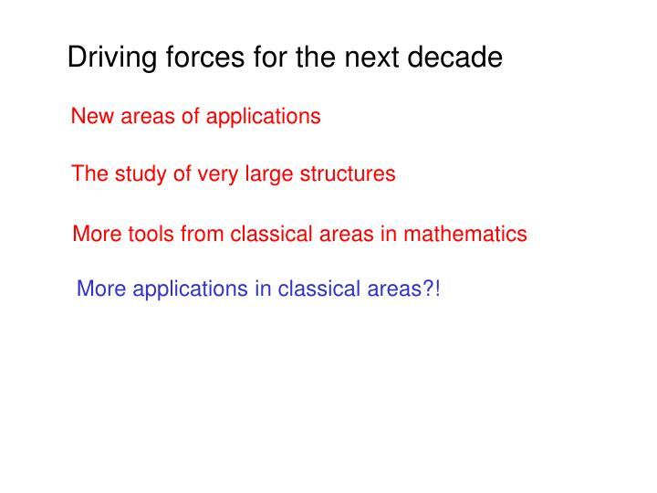 Driving forces for the next decade