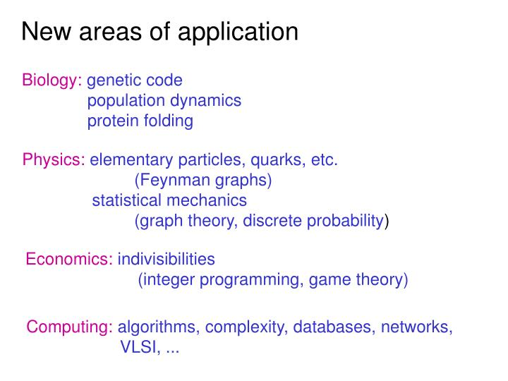 New areas of application