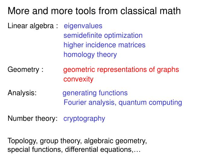 More and more tools from classical math