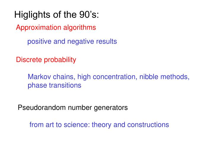 Higlights of the 90's: