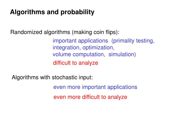 Algorithms and probability