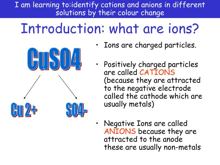 I am learning to:identify cations and anions in different solutions by their colour change