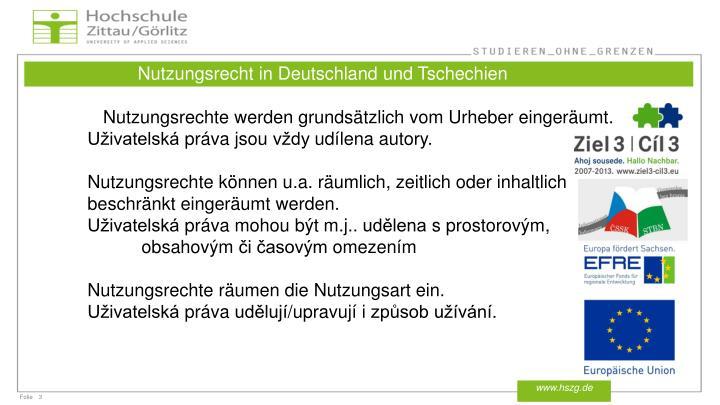 Nutzungsrecht in Deutschland und Tschechien