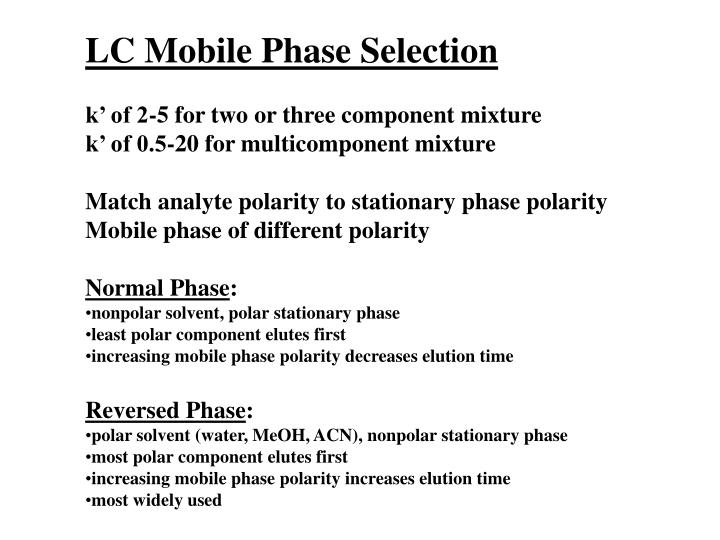 LC Mobile Phase Selection