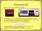 polarimetry iii
