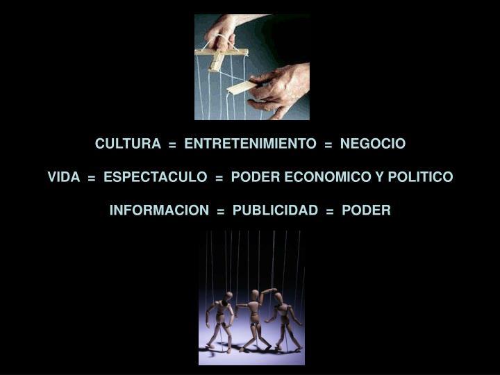 CULTURA  =  ENTRETENIMIENTO  =  NEGOCIO