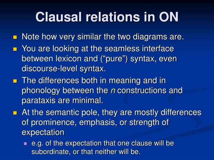 Clausal relations in ON