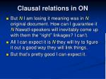 clausal relations in on4