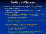 setting n clauses