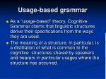 usage based grammar