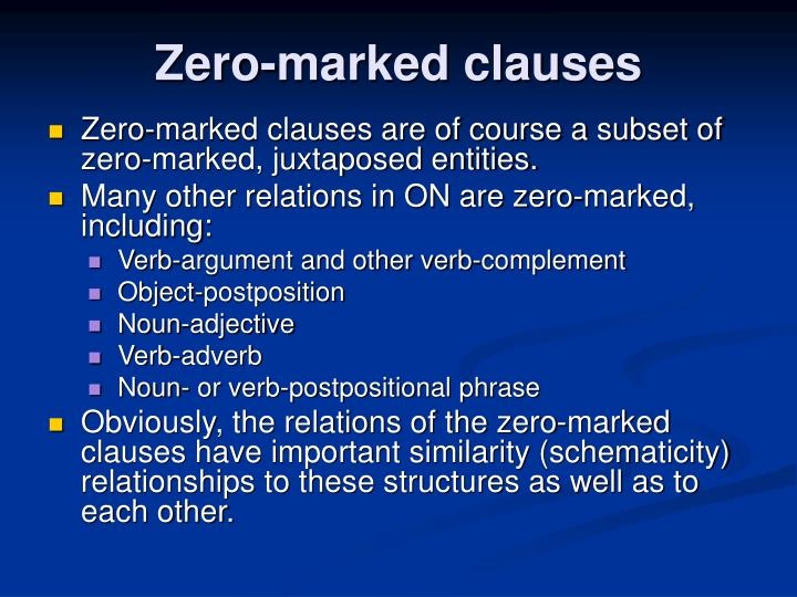 Zero-marked clauses