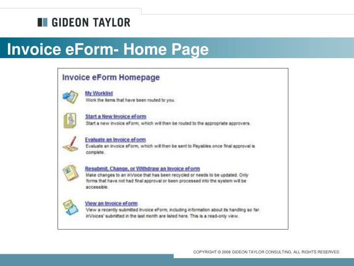 Invoice eForm- Home Page