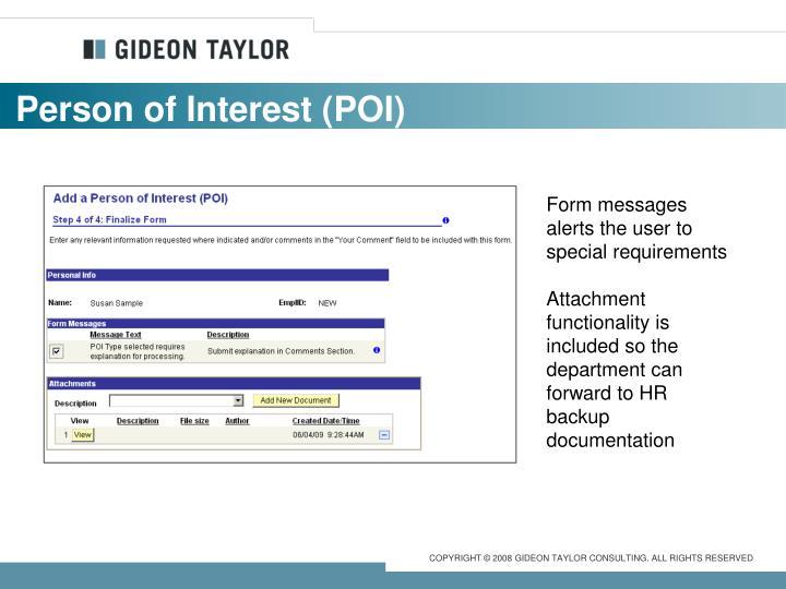 Person of Interest (POI)