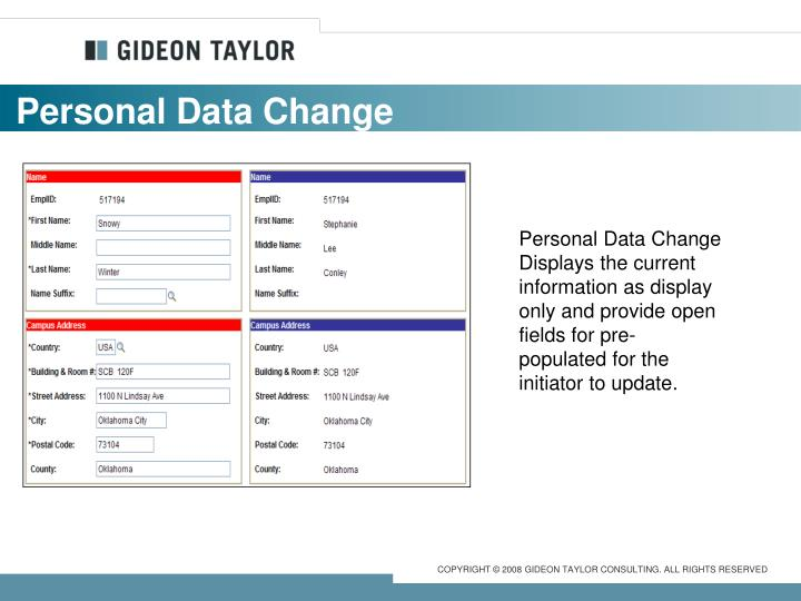 Personal Data Change