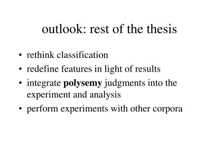 outlook: rest of the thesis