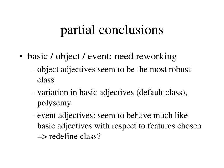 partial conclusions