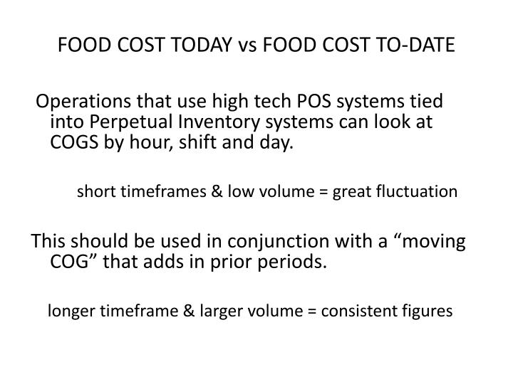 FOOD COST TODAY