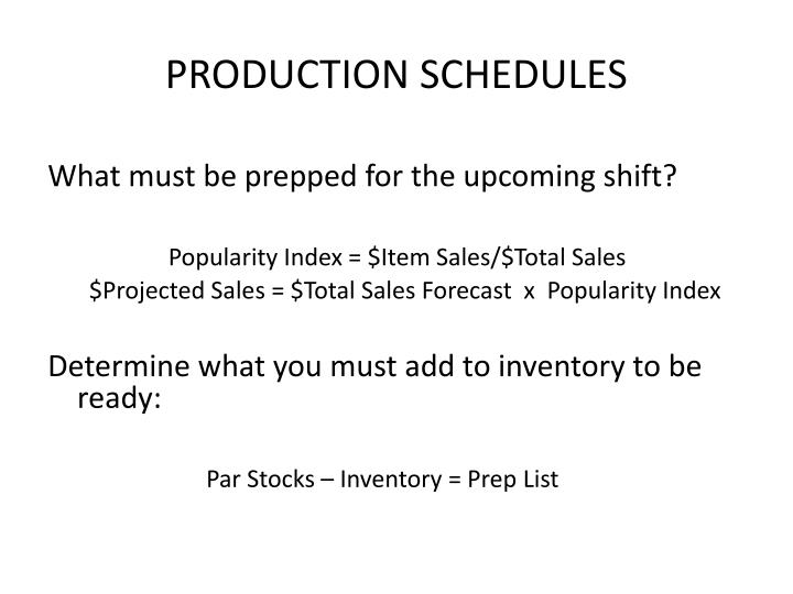 Production schedules