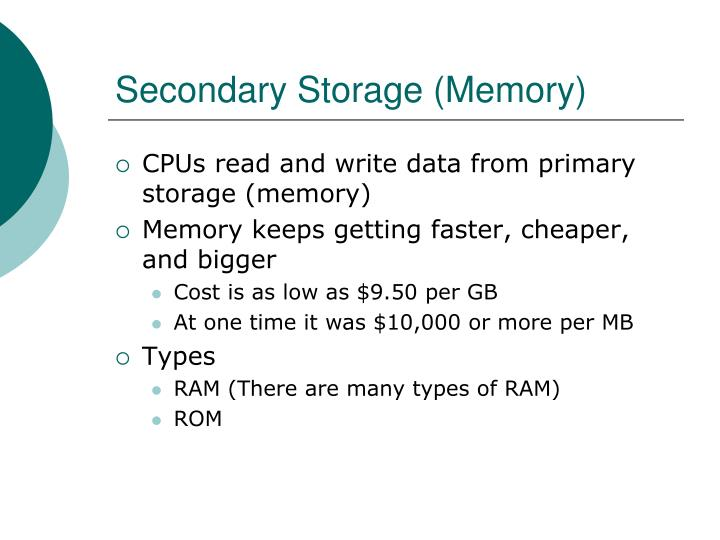 Secondary Storage (Memory)