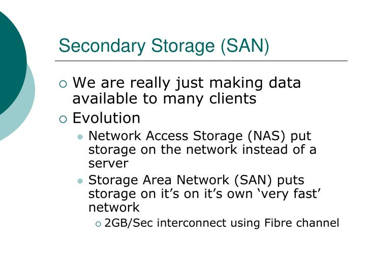 Secondary Storage (SAN)