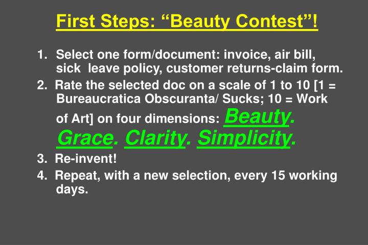 First Steps: Beauty Contest!