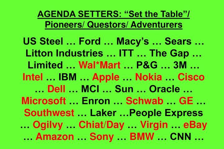 "AGENDA SETTERS: ""Set the Table""/ Pioneers/ Questors/ Adventurers"