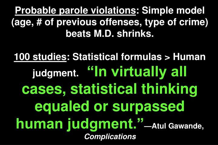 Probable parole violations