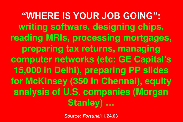 WHERE IS YOUR JOB GOING: