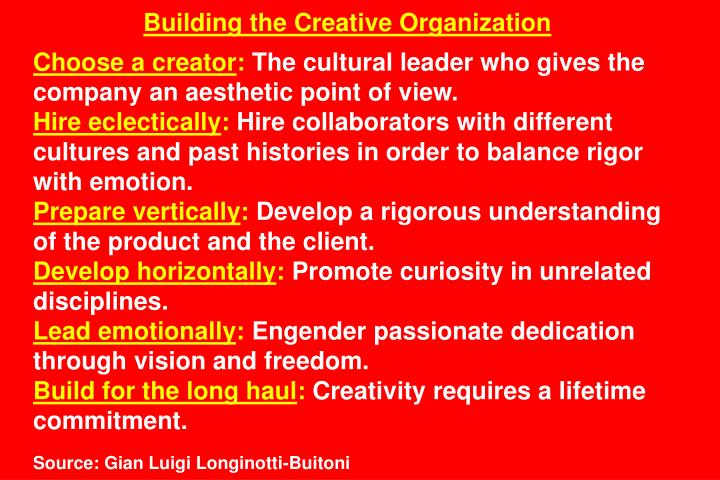 Building the Creative Organization