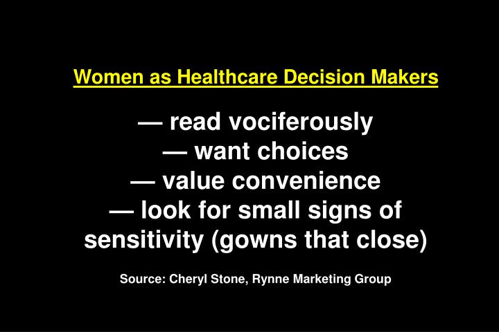 Women as Healthcare Decision Makers