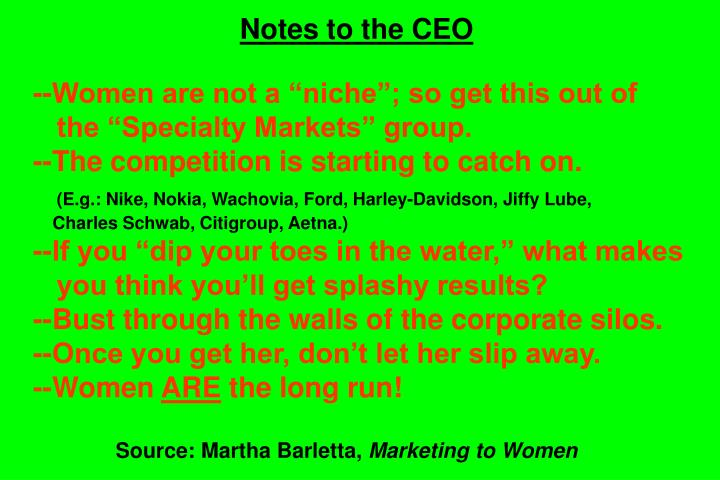 Notes to the CEO