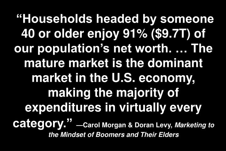 Households headed by someone 40 or older enjoy 91% ($9.7T) of our populations net worth.  The mature market is the dominant market in the U.S. economy, making the majority of expenditures in virtually every category.