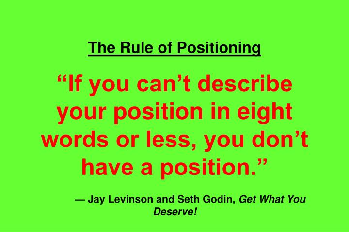 The Rule of Positioning