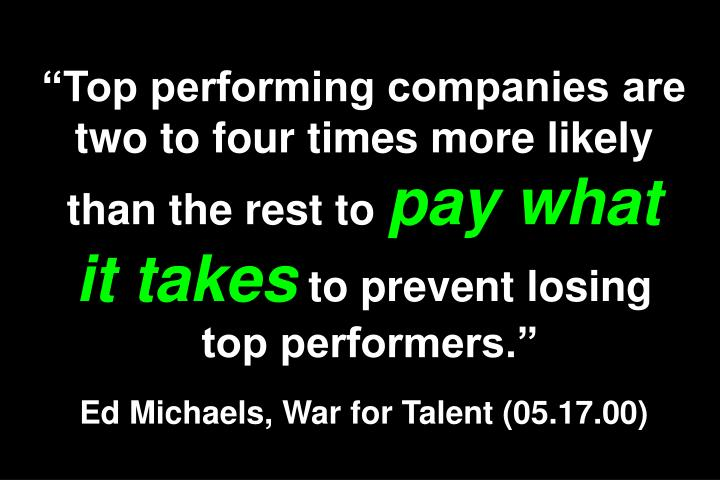Top performing companies are two to four times more likely than the rest to