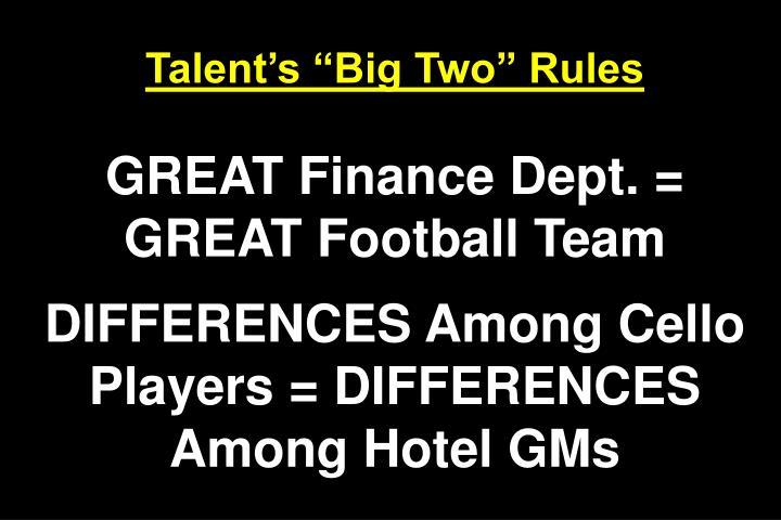 Talents Big Two Rules