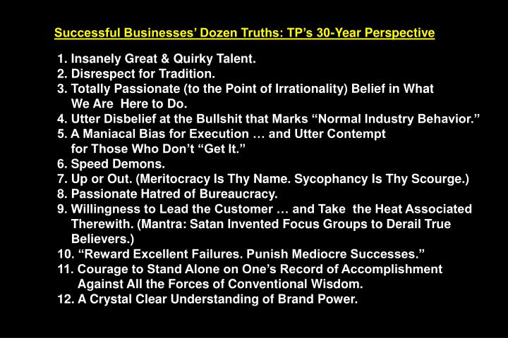 Successful Businesses Dozen Truths: TPs 30-Year Perspective