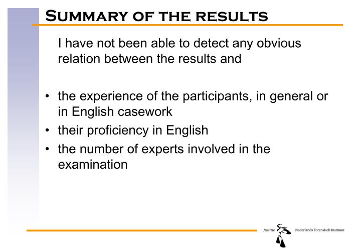 Summary of the results