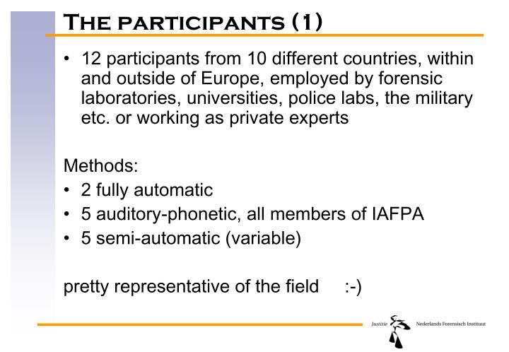 The participants (1)