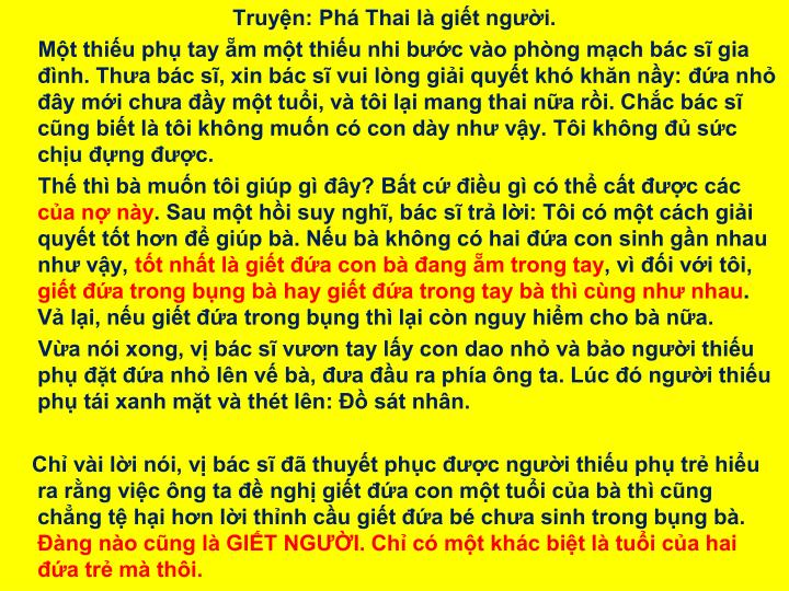 Truyện: Phá Thai là giết người.