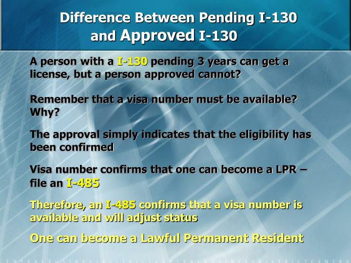 Difference Between Pending I-130