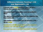 difference between pending i 130 and approved i 130