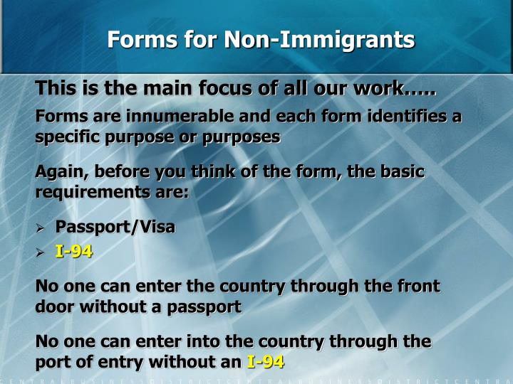 Forms for Non-Immigrants
