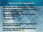 forms for non immigrants