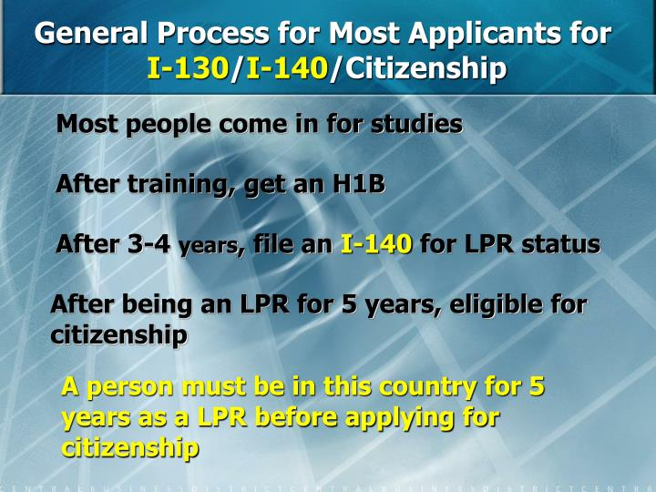 General Process for Most Applicants for