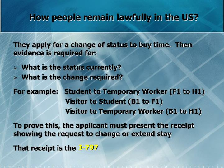 How people remain lawfully in the US?