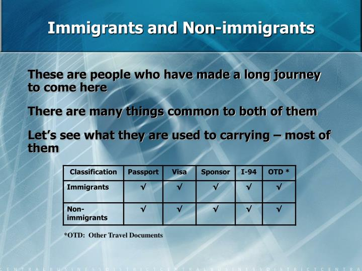 Immigrants and Non-immigrants