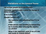 variations on the general theme