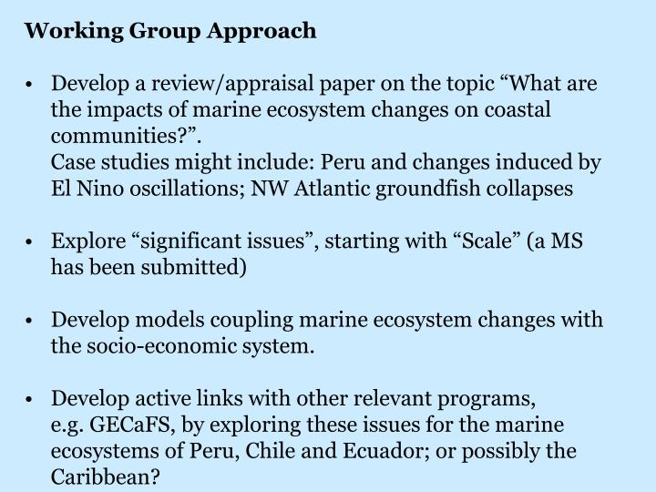 Working Group Approach