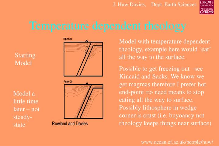 Temperature dependent rheology